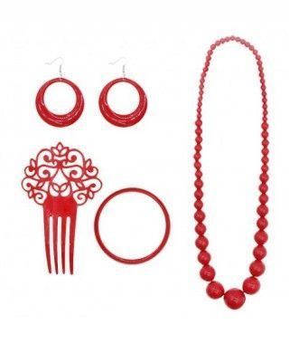 Set Accesorios Flamenca Sevillanas Rojo (4 PCS)