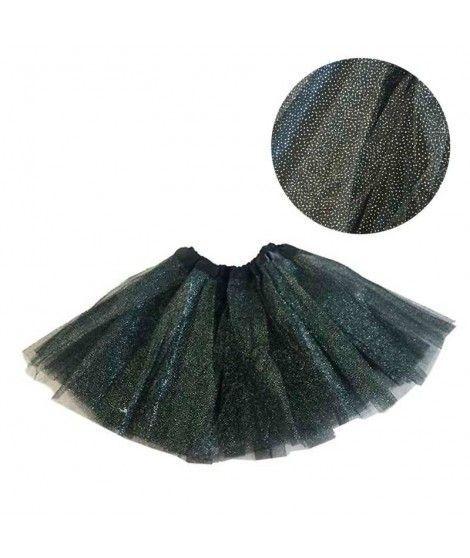 Tutú infantil negro purpurina bailarina 25 cm