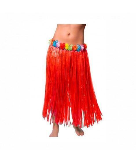 Falda Hawaiana Adulto Hula Roja (80 cm)