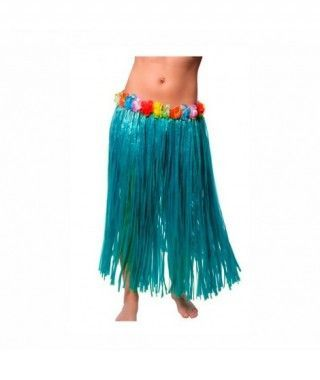 Falda Hawaiana Adulto Hula Azul (80 cm)