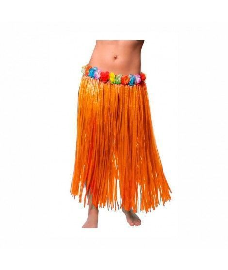 Falda Hawaiana Adulto Hula Naranja (80 cm)