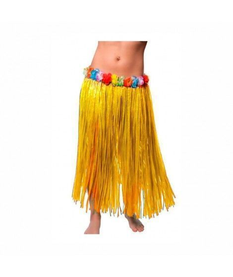 Falda Hawaiana Adulto Hula Amarilla (80 cm)