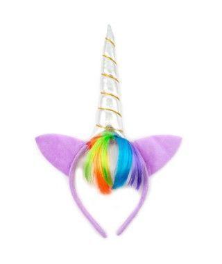 Diadema Unicornio Felpita Flequillo Arco Iris
