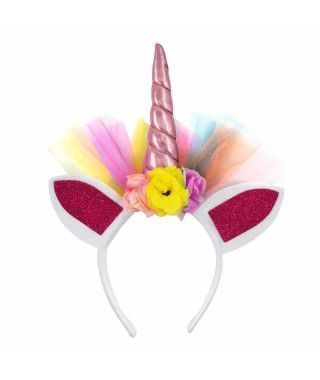 Diadema Unicornio Tul y Flores