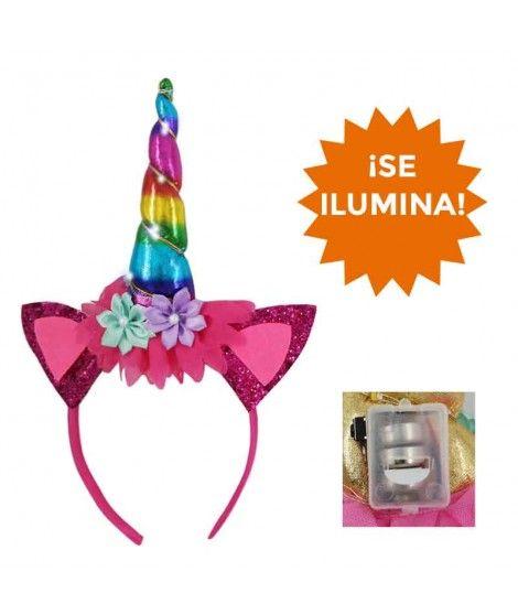 Diadema Unicornio Con Luz Orejas Purpurina