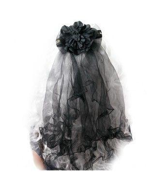 Velo Negro Flor Halloween