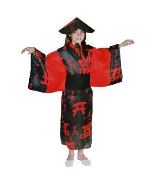 Disfraz China Rojo y Negro Niña