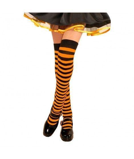 Medias Rayas Negras y Naranjas Accesorio Carnaval y Halloween