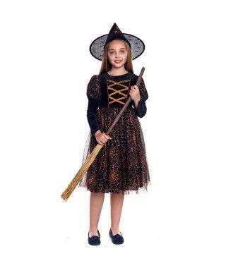 Disfraz Bruja telaraña naranja niña infantil