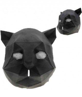 Máscara Gato Negro Origami Látex