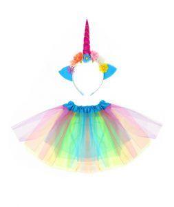 diadema flores multicolor y tutú para disfraces de unicornio