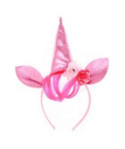 diadema cuerno rosa para disfraces de unicornio