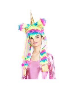 gorro de unicornio de pelo de colores para disfraces de unicornio