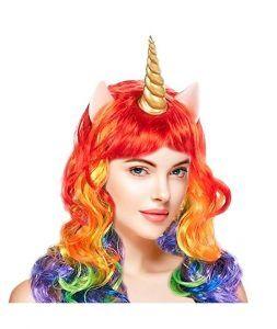 peluca disfraz unicornio multicolor