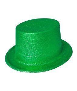 sombrero de copa purpurina verde día de san patricio