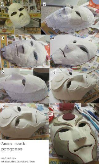 mascara carton relieves con papel mache