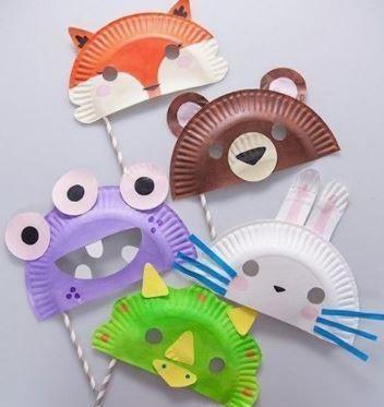 mascaras animales con platos papel