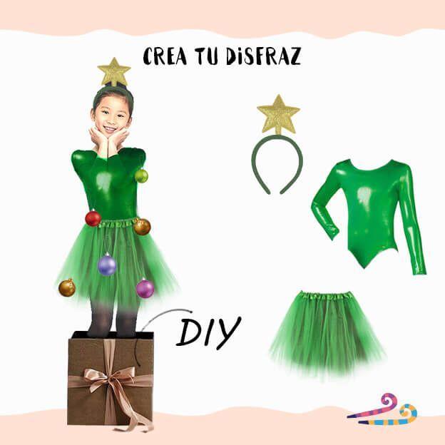 disfraz arbol navidad casero con maillot verde