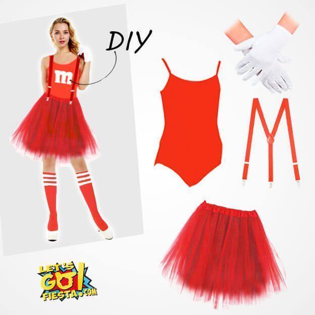 disfraz M&M casero maillot rojo de mujer