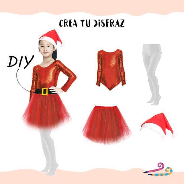 disfraz mama noel con body rojo mujer niña