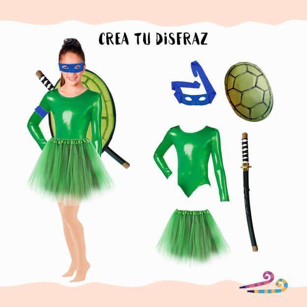 disfraz de tortuga ninja con maillot verde