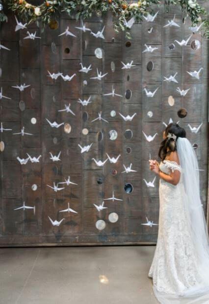 weddingwire fondo con grullas de papel