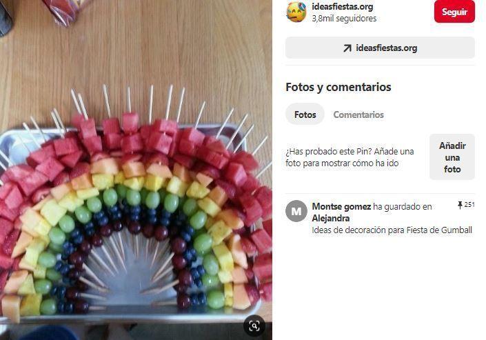 brochetas fruta arco iris fiesta hippie