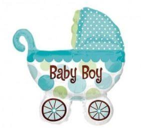 globo carrito azul baby shower