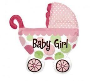 globo carrito rosa baby shower