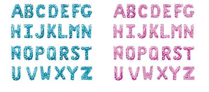 globos letras azules y rosas