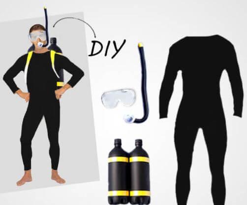 disfraz buzo casero mono negro letsgofiesta