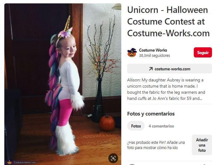 disfraz casero unicornio con trenza postiza