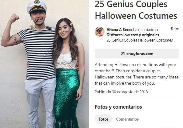 disfraz pareja marinero y sirena