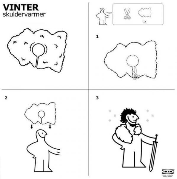 instrucciones para hacer capa jon snow ikea