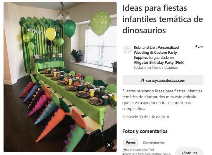 cosasycasosdecasa idea decoracion cumpleaños dinosaurio