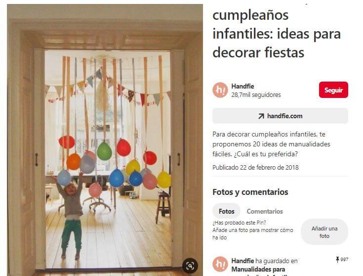 handfie globos cumpleaños fiesta