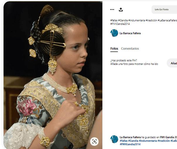 disfraz fallera niña pendientes aderezo agujas