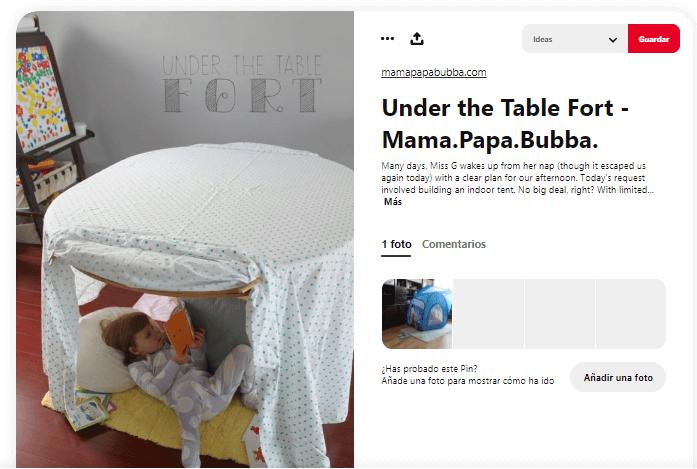 Como fabricar cabana de tela debajo mesa
