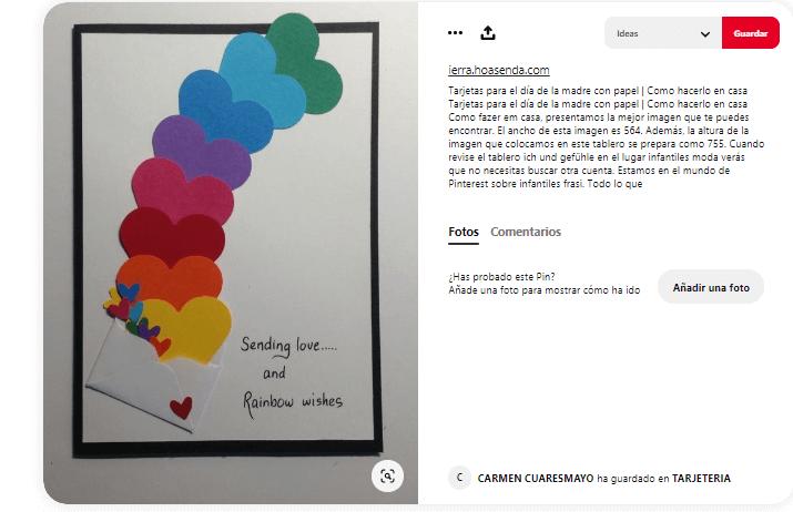 Dia de la madre tarjetas corazon