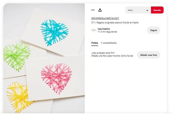 Dia de la madre tarjetas corazon hilo