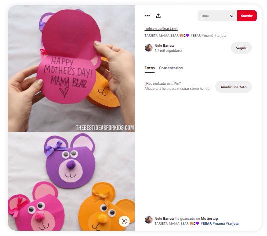 Dia de la madre tarjetas oso