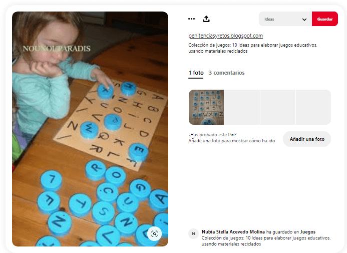 Juegos didacticos para ninos letras tapones