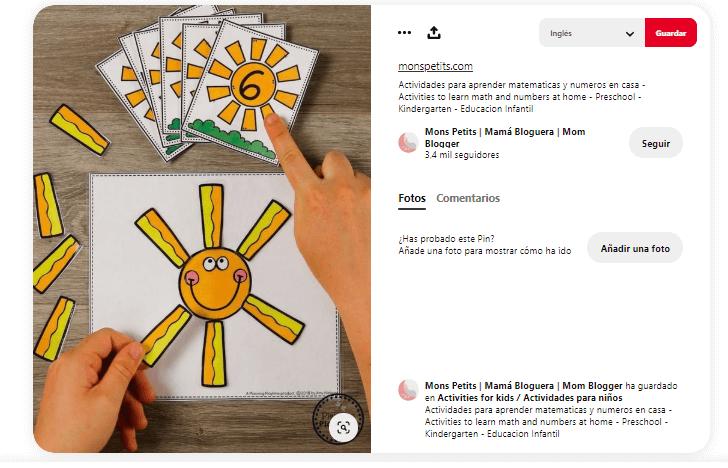 Juegos didacticos para ninos números sol