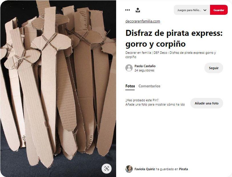 espadas piratas carton