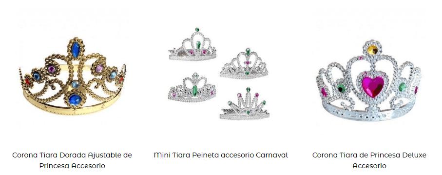 Coronas tiaras disfraz princesas complementos ideoneos tipos