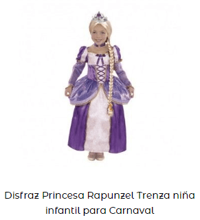 Disfraces princesas complementos ideoneos niña rapunzel