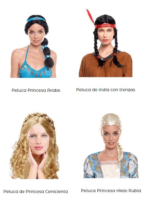 Disfraces princesas ideoneos niña pelucas trenzas