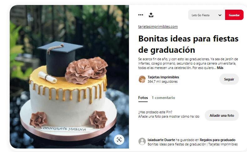 Fiesta graduacion comida tarta graduado