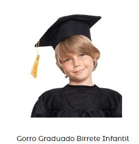 Fiesta graduacion gorro birrete disfraz infantil