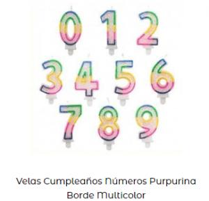 Velas de cumpleaños originales numeros multicolor